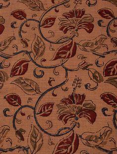 Brown-Multicolor Kalamkari-printed Cotton Fabric