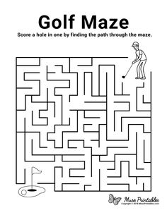 Mazes For Kids Printable, Preschool Printables, Worksheets For Kids, Free Printables, Maze Book, Maze Worksheet, Activity Sheets For Kids, School Door Decorations, Golf Pictures