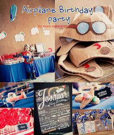Aviator Birthday Party Theme Boy Kids Blue Red Airplane Flying Air