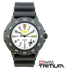 Protector Tritium, White Face, Rubber Strap #Watch