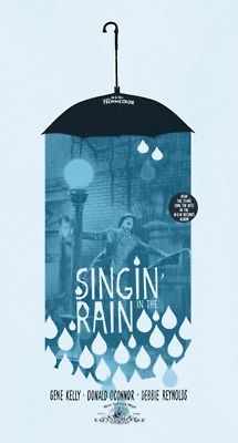 "Singing In The Rain poster by Adam Juresko—good concept for using the colors possibly to have them ""flowing over some kind of imagery"" like this is, but different."