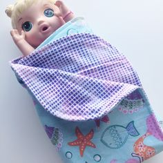 New mermaid flannel receiving blanket now listed 🐠