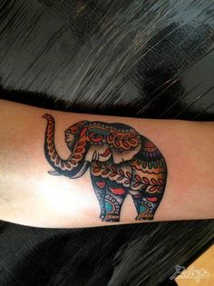 An elephant is decorated with paisley patterns in this decorative animal tattoo by Karolina Bebop « « Ratta Tattoo