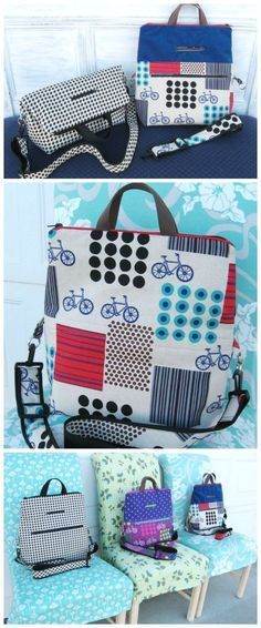 Sewing pattern for a convertible bag, that goes from fold over purse, to shoulder bag to full height tote. Really smart pattern.