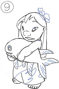 How To Draw Lilo From And Stitch Step By