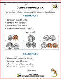 2nd grade math worksheets Money Riddles 2a