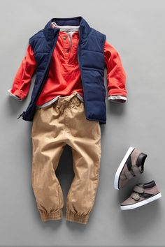 Toddler boys' fashion | Kids' clothes | Henley top | Puffer vest | Jogger pants | Sneakers | The Children's Place