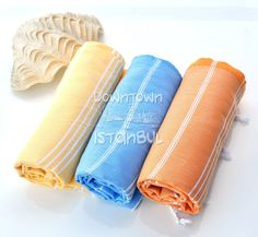 Sea Beach Towel Set of 3 Turkish Bath Towel  by DowntownIstanbul, $44.99