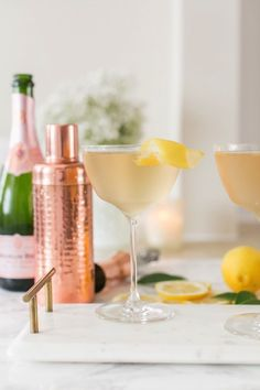 Sparkling Rosé & Ginger Cocktail with Jasmine & Lemon