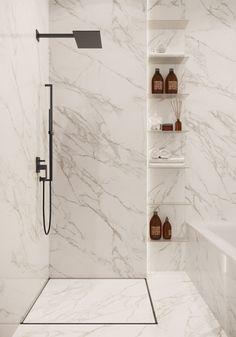 Modern Renaissance Apartments on Behance Bathroom Design Luxury, Modern Bathroom Design, Home Interior Design, Modern Marble Bathroom, Minimalist Bathroom, Bathroom Design Inspiration, Bad Inspiration, Design Ideas, Toilet Design