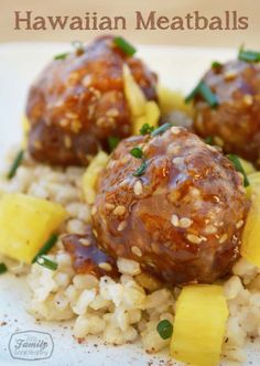 This is a recipe for Hawaiian meatballs using pork and beef. They have ginger, honey, and soy sauce, and are served with brown rice and pineapple.