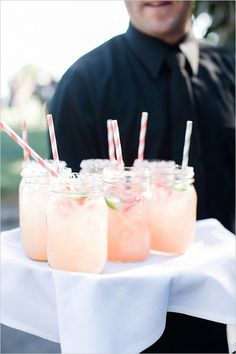 Wedding Food fresh strawberry margaritas - This Southern California Hot Pink Wedding may seem like just a classic and sweet celebration, but wait until you see the reception! Summer Drinks, Fun Drinks, Beverages, Hot Pink Weddings, Strawberry Margarita, Festa Party, Reception Food, Cocktail Recipes, Cocktails