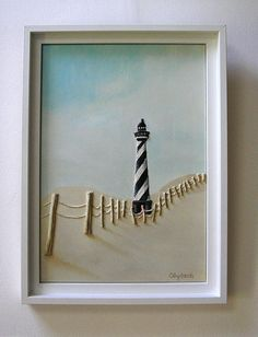 Lighthouse Textured Painting  Mixed Media - constructed in string