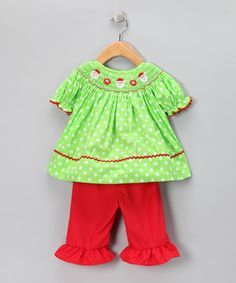 a753636c4 Take a look at this Princess and the Pauper Lime Red Polka Dot Santa Top  Pants by Timeless Attire: Kids' Smocking on today!
