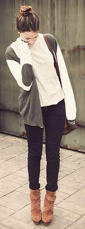 creme cardigan with grey
