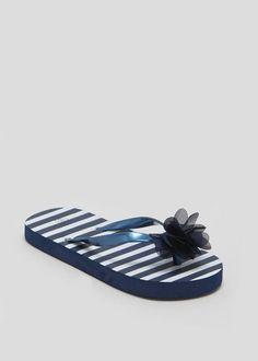 6c66c24fd32c Girls Stripe Flower Flip Flops (Younger 10-Older 5)