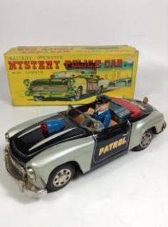 Vintage Mystery Police Car Tin Toy Battery Operated 1960s Wind up Rare JAPAN 432 #Sanshin