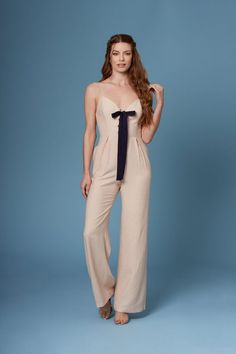 7a45fb127ea Danny Beige Lace-Up Wide-Legged Jumpsuit by Lush