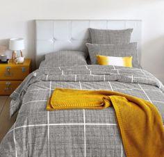 Image MASA Metal Trunk La Redoute Interieurs grey and mustard design Bed Sets, Bedroom Furniture, Bedroom Decor, Cotton Duvet, New Room, Bed Covers, Luxury Bedding, Interior Design Living Room, Bedding Sets