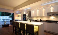 Love the lighting under the breakfast bar