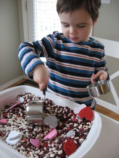 Great idea for sensory table for Valentine's Day!