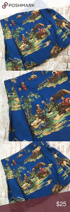"""Robert Allen Cotton Camp Fire Skirt Super cute and fun  Wrap and snap close Great color 17 """" long  15"""" waist  Flat measurements  No rips tears or stains  Non smoking environment💕 Robert Allen Skirts A-Line or Full"""