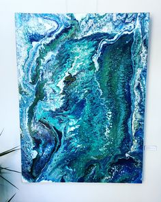 Excited to share the latest addition to my #etsy shop: Fluid Acrylic Painting on Canvas: Emerald Tide #art #painting #blue #turquoise #fluidart #fluidpainting #large #artwork #oceanart #homedecor #wallart #canvasart