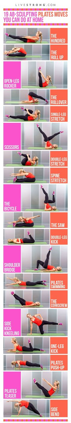 Sculpt your core with these 19 Pilates moves! Click through for GIFs of each move>>> #Pilates
