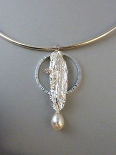 Pendant, art clay silver and silver with champagne cubic zirconia and fresh water pearl