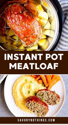 This Instant Pot Meatloaf and Mashed Potatoes Dinner makes for a full, comforting family meal – all made in one pressure cooker! Quick prep makes this the perfect easy dinner. | #instantpot #pressurecooker #meatloaf #groundbeef #easydinner  #instantpotrecipes #instantpotdinner #instantpotmeal #pressurecookerrecipes #groundbeefrecipes #dinner #dinnerrecipes #easydinnerrecipes #easydinnerideas  #meatloafrecipes Meatloaf Recipes, Beef Recipes, Cooking Recipes, Easy Recipes, Sunday Dinner Recipes, Instant Pot Dinner Recipes, Instant Pot Pressure Cooker, Pressure Cooker Recipes, Pressure Cooking