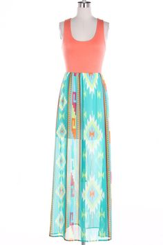 Aztec Print Maxi Dress. I don't know how I feel abou the sheer bottom, but I love the colors and print.