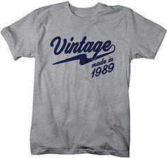 Shirts By Sarah Men's Vintage Made In 1989 T-Shirt Retro Birthday Shirts
