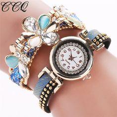 Ycys-womens Retro Weave Wrap Flower Faux Leather Bracelet Wrist Watch Brown Fine Quality Watches Quartz Watches