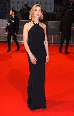 Black gown with simple clean lines.