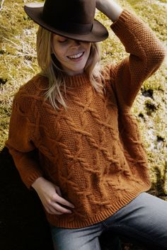 This all-wool sweater in autumn brown features cables over a background of moss stitch, with a twisted ribbing at the cuff and the hem. The sweater is worked in the round from the hem up to the sleeves. Sweater Knitting Patterns, Knitting Designs, Knitting Yarn, Knitting Projects, Jumper Patterns, Cable Knitting, Crochet Projects, Lace Patterns, Clothing Patterns