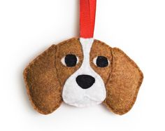 Beagle Ornament by Sklep on Etsy, Ready to ship, Felt Holiday Home Decor Gift Dog Pet Memorial Personalized