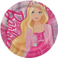 "9"" Round Barbie Plates, 8pk"