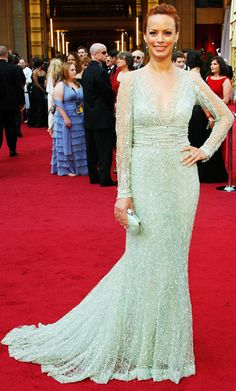 wow again.... love long sleeves! Delicate beading and sheer panels adorned nominee Berenice Bejo's mint green Elie Saab gown.