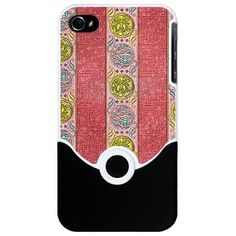 Decorative Pink Gold Striped iPhone 4 Slider Case    A decorative and elegant pattern, this electronic case design features wide pink stripes with circular patterns of gold, coin like decorations set in rows.  $24.95