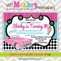 438 DIY  1950's Chevy Party Invitation Or por SillyMonkeyPrints, $12.95