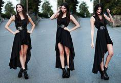 Love Asymmetrical Black Maxi Dress, Black Patent Belt, Jeffrey Campbell Black Everest Platform Boots