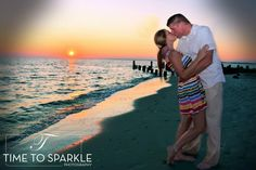 "Engagement photo. Kiss on the beach www.timetosparklephotography.com  For more ideas ""Like Us"" at https://www.facebook.com/pages/Time-to-Sparkle-Photography-LLC/215052625232087?ref=br_rs"