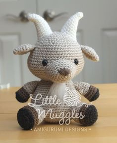 Gordy the billy goat amigurumi crochet pattern by Little Muggles