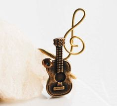 Classic Guitar Treble Clef Note Brass Wire by jeanninehandmade, $4.00