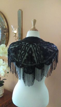 Lovely Vintage 90's Black Beaded Sequined Fringed Lacy Shawl Collar Cape-let by GenesisVintageShop on Etsy
