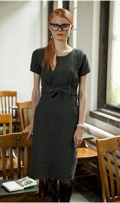 Shabby Apple's bookworm dress.  basic sheath with empire waist with bust gathers and a bow.