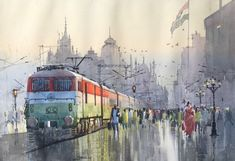 Steel Grey acrylic Painting by Bijay Biswaal on Canvas, Cityscape based on theme City View. Street Style India, Art Forms Of India, Movement Drawing, Independence Day Special, Abstract Pencil Drawings, Train Illustration, States Of India, Bachelor Of Fine Arts, Indian Art Paintings
