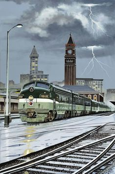 "On this cool, stormy afternoon, passengers stay warm and dry aboard Northern Pacific's train the ""North Coast Limited"" as it prepares to depart from Seattle's King Street Station on its way to Chicago. ""North Coast Limited"" by Shayne. Railroad Pictures, Bonde, Railroad Photography, Train Art, Old Trains, Train Pictures, Train Engines, Train Posters, Diesel Locomotive"