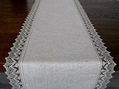 Beau 72 Long Linen Table Runner Lace Dresser Scarf Natural Light Grey Tablecloth  Housewarming Gift Rustic Table Runner Wedding | Rustic Table Runners, ...