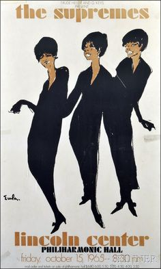 Joe Eula, vintage original The Supremes promo posterAmong Eula's most famous illustrations, this fashionable and soulful work was published in 1965 to publicize the legendary Motown group's concert at Lincoln Center lithograph Jazz, Blues, Lincoln Center, Poster Prints, Art Prints, Modern Prints, Diana Ross, Soul Music, Metal Signs
